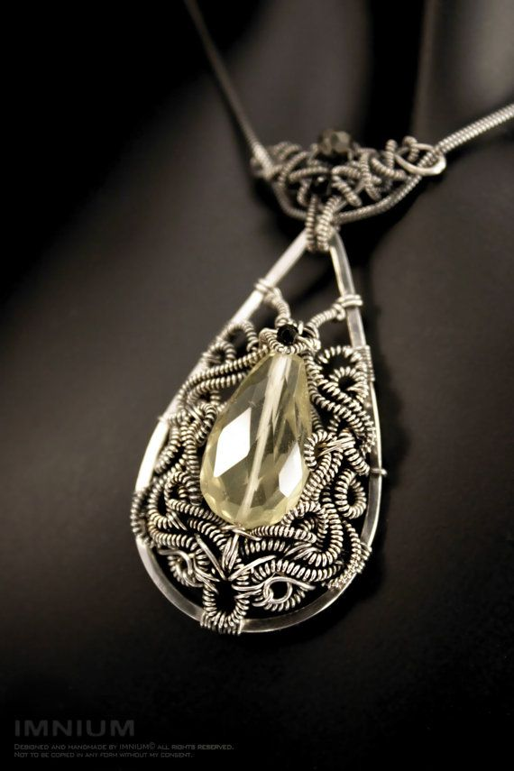 Lemon - a wire wrapped sterling silver necklace with a beautiful pale lemon quartz OOAK detailed wire work