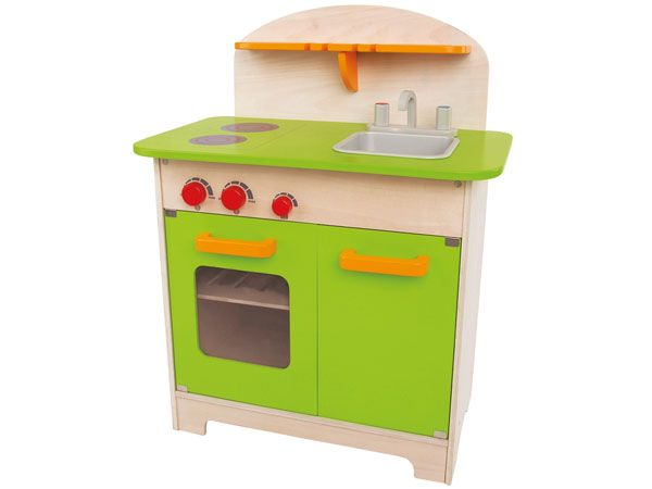 Dette flotte køkken fra Hape kan få kokken frem i et hvert barn. Køkkenet er lavet af træ og giver barnet mulighed for selv at bestemme menuen. Sjov og leg er sikret! Se også vores store udvalg af mad og tilbehør til legetøjs køkkenet. Hape - køkken - mad - leg - legetøj - trælegetøj