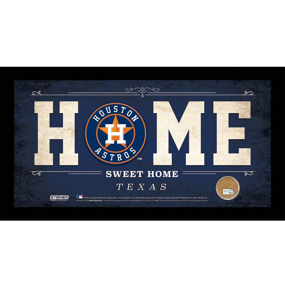Houston Astros 6x12 Home Sweet Home Sign with Game-Used Dirt from Minute Maid Park