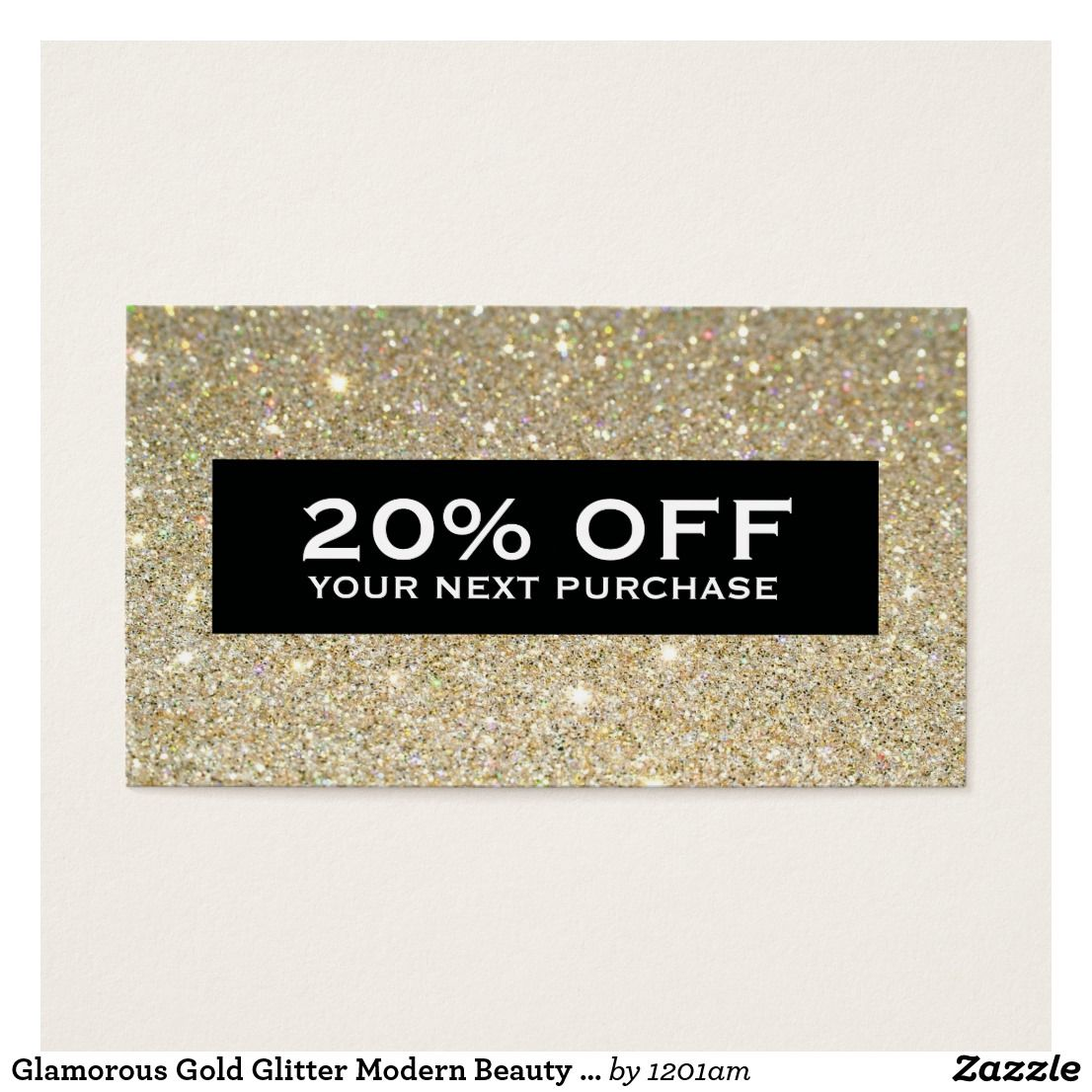 Glamorous Gold Glitter Modern Beauty Coupon Card Coordinates with ...