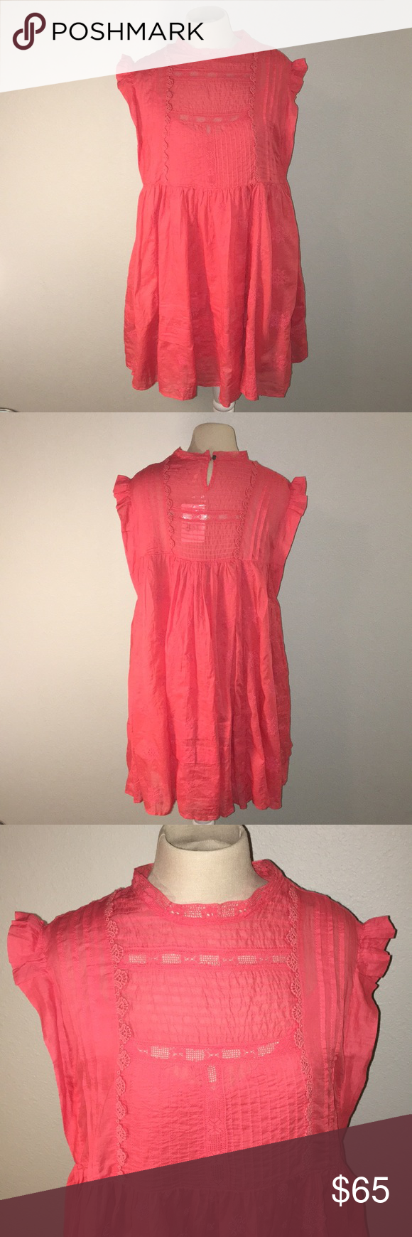 """f8c55db9ab16 NWT Free People Nobody Like You Dress NWT Free People Nobody Like You  Embellished Mini Dress in Coral Kiss. 100% Cotton Removable slip 34"""" long  shoulder to ..."""