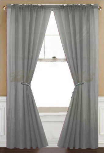 2 Piece Set 63 Long Solid Sheer Curtains Panels Window Drape Grey Qutain Linen Http Www Amaz Window Treatments Living Room House Styles Red Sheer Curtains