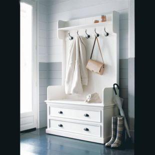 Mobile Bianco Da Ingresso Con 5 Attaccapanni L 110 Cm Maisons Du