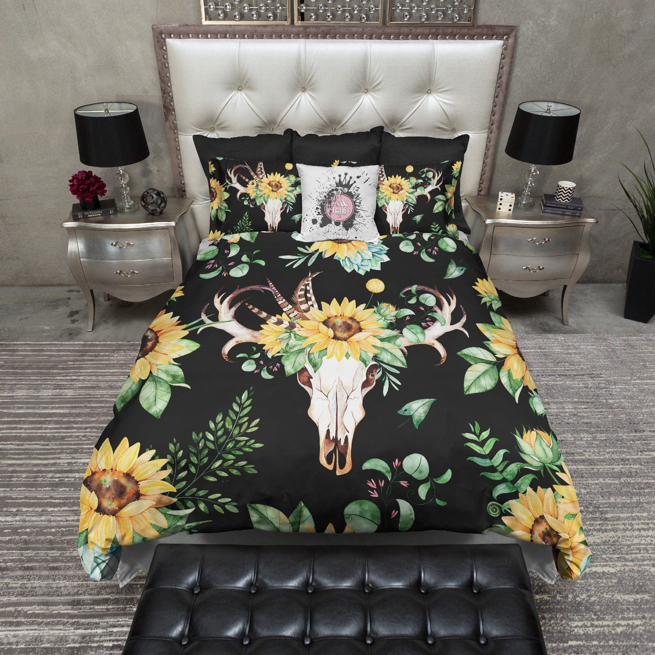 Sunflower And Deer Skull On Black Duvet Bedding Sets Luxury
