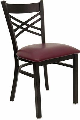 Black ''X'' Back Metal Restaurant Chair with Burgundy Vinyl Seat, BFDH-6147BY   RestaurantFurniture4Less.com