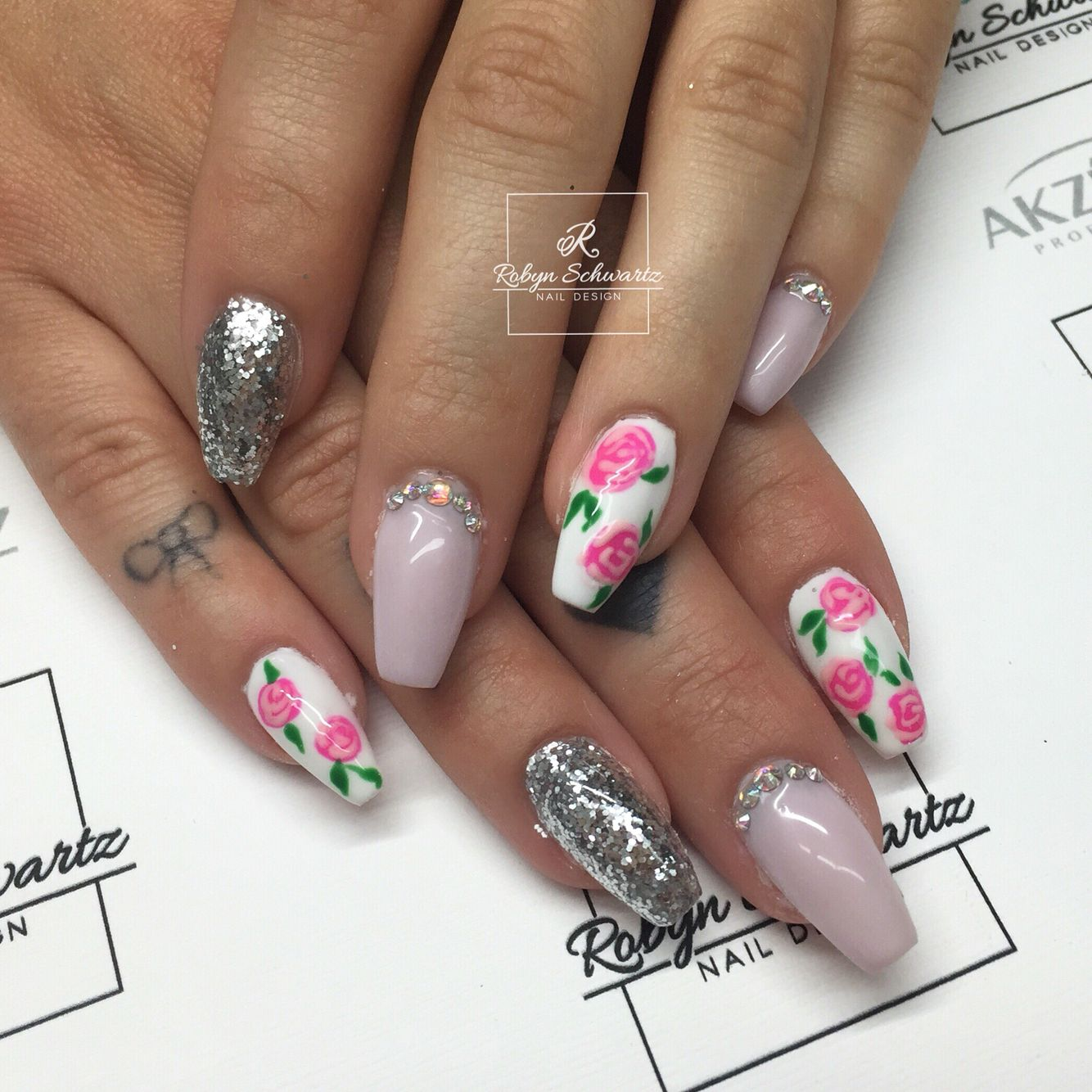 How pretty are these spring nails? Coffin nails, gel nails, glitter ...