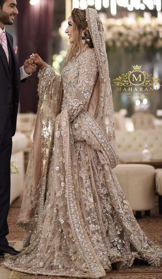 Photo of Baby Pink Heavy Embroidered Embellished Bridal Lehenga Indian Bridal Wedding Outfit Dress Bride