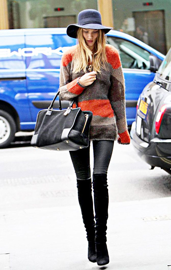 Rosie Huntington Whiteley in oversized jumper, skinny jeans, over the knee boots, Loewe bag and Missoni hat