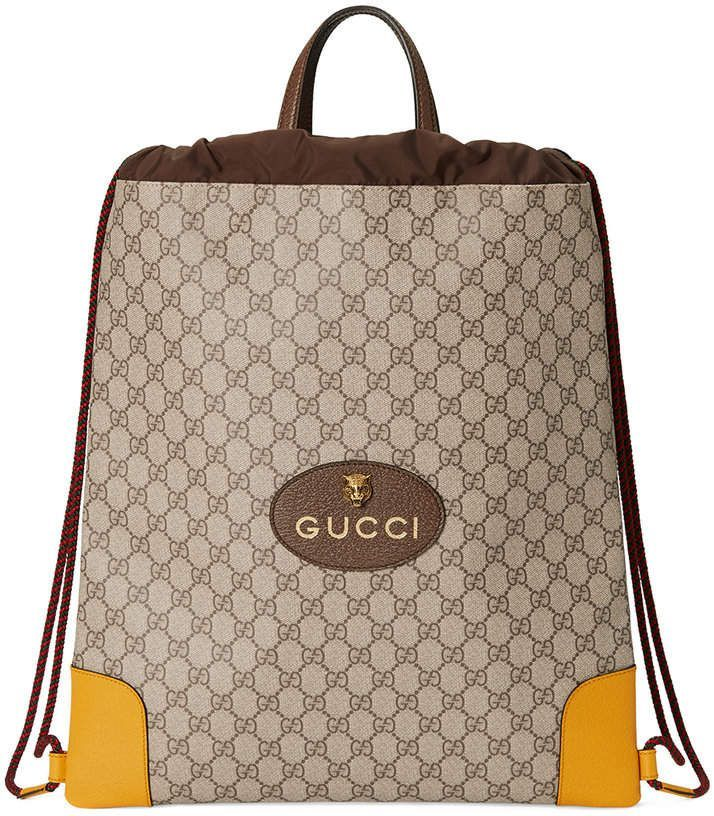 Gucci GG Supreme drawstring backpack  Gucci  purse  ShopStyle  MyShopStyle  click link for bfd1dd13d39