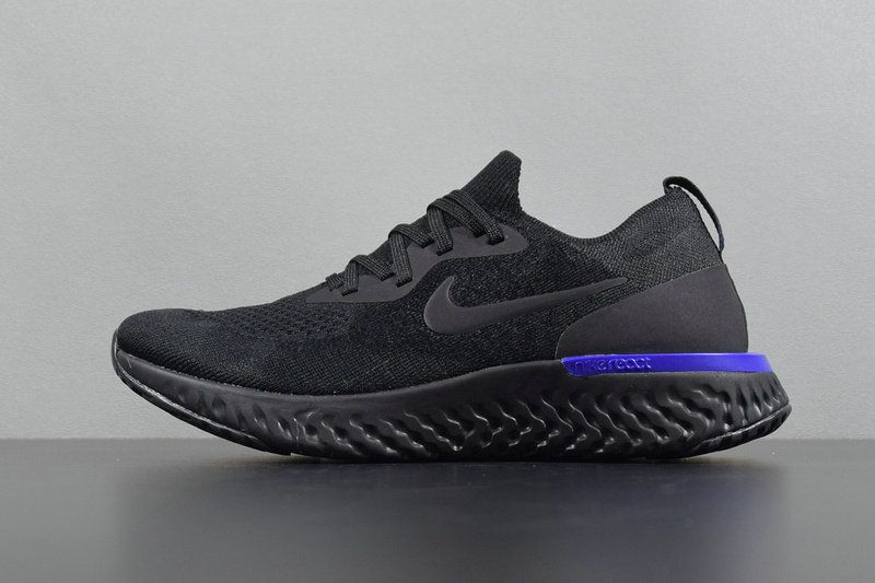 f3525f47cb53d 2018 Authentic Unisex Nike Epic React Flyknit Black Racer Blue AQ0067-004