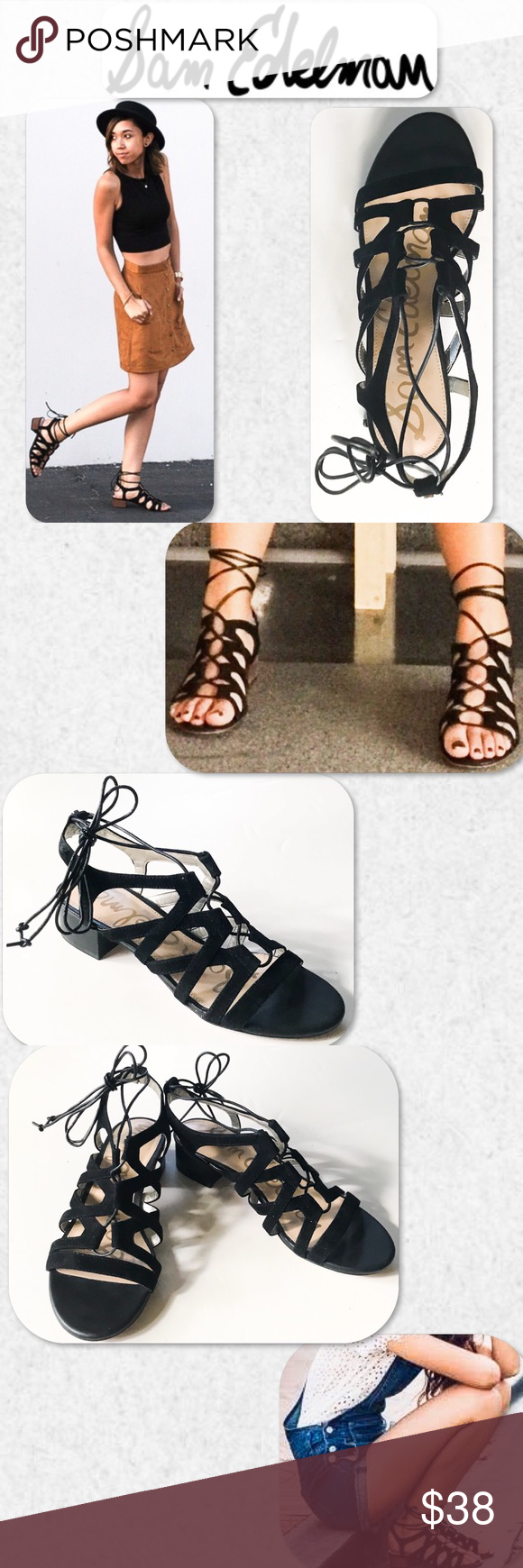 e2a4b3898052 Sam Edelman Ardella Lace-Up Suede Sandal Crisscrossing cutout leather cages  the foot in this