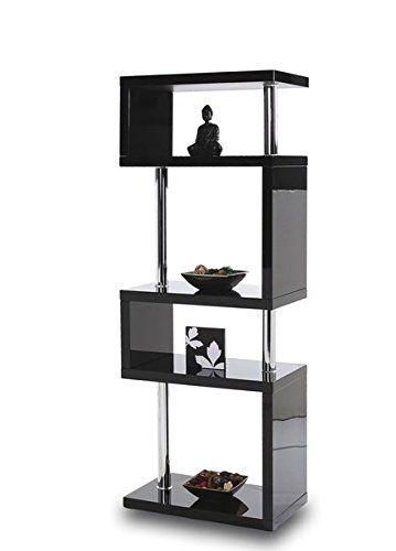 Modern Designer Tall Square Gloss Black Shelving Unit Brand New