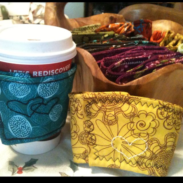 Coffee cup sleeves!! My crafty Christmas gift this year for family :)