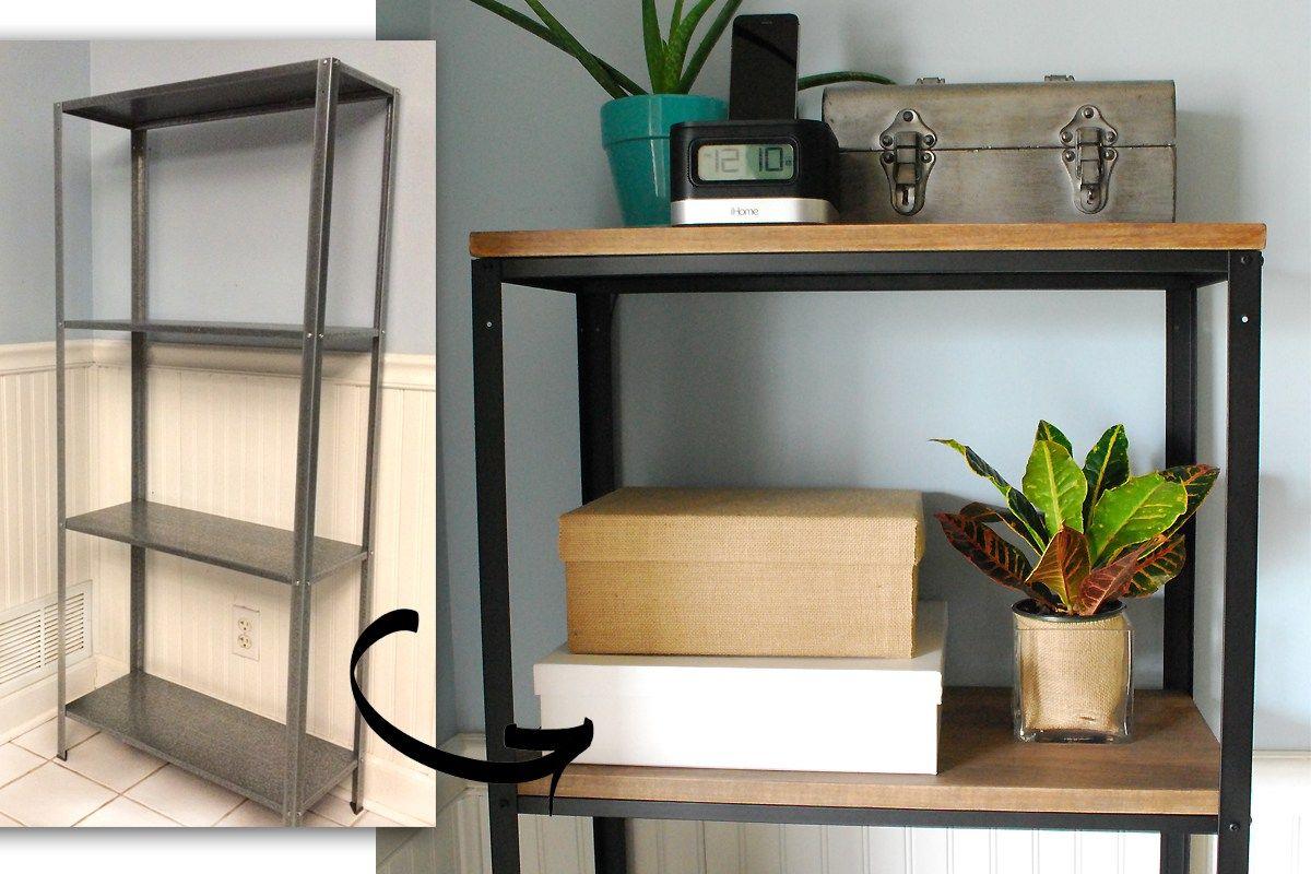 Ikea Hack Wood And Metal Bookshelf Real Happy Space Ikea Metal Shelves Metal Bookshelf Wood And Metal Shelves