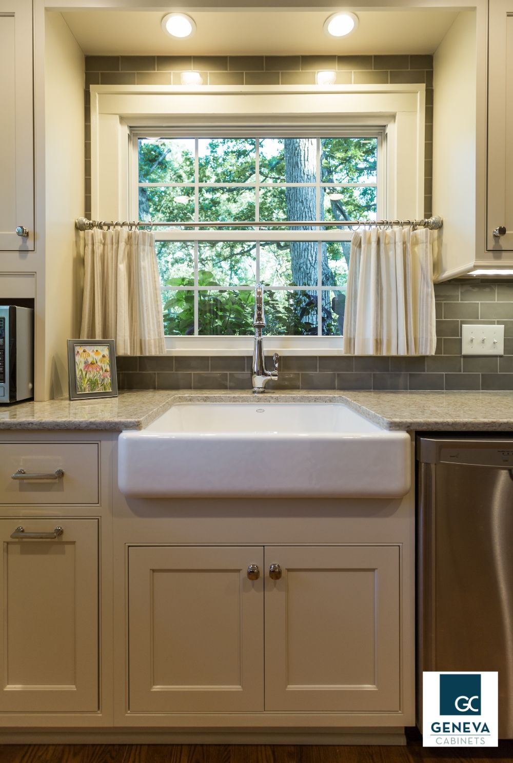 Geneva Cabinet Company Lake Geneva Wi Farmhouse Sink With Window Above And Recessed Lighting Shiloh Cabin Kitchen Cabinets Cabinetry Farmhouse Sink Kitchen