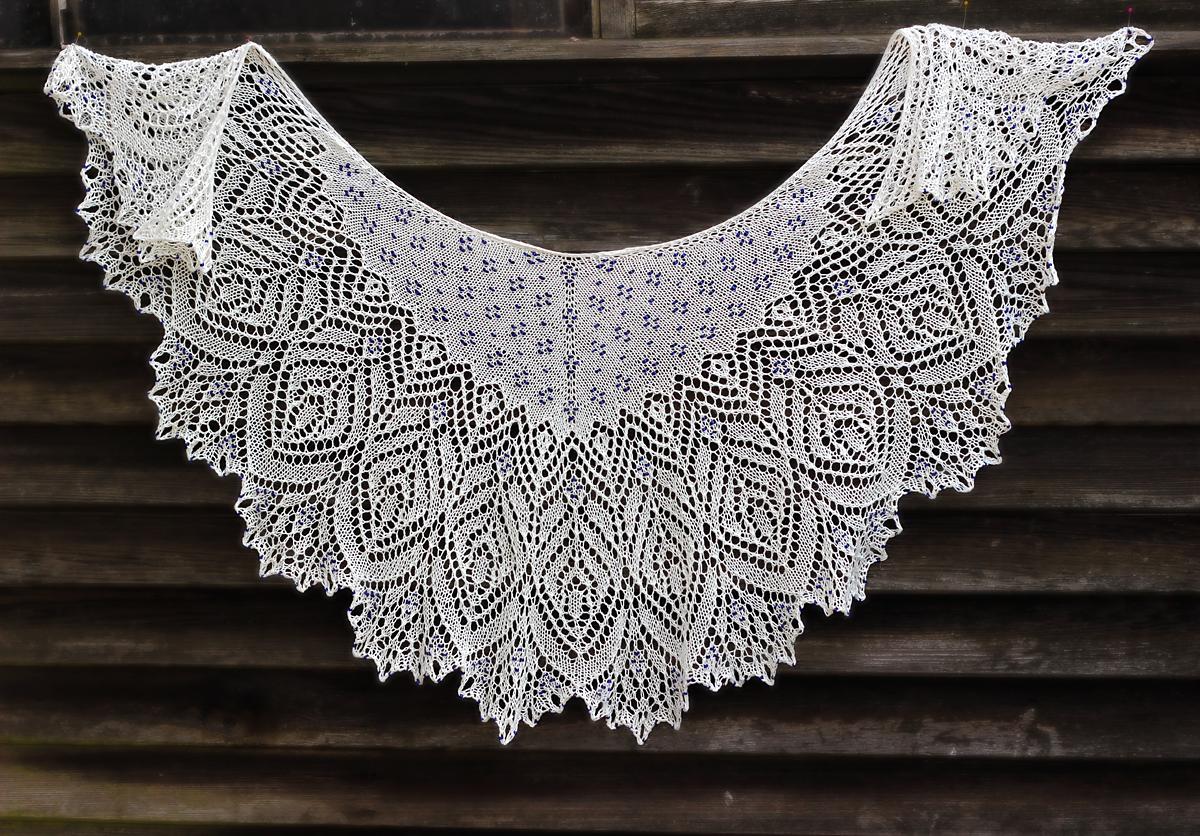 Lace Shawl Knitting Patterns : Hortense beaded lace shawl pattern by anna victoria