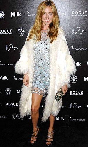 Cat Deeley went snow queen in a sequin dress and super-soft tiered cream fur cape at the Art of Elysium Genesis Event in LA. www.pertlybeast.com