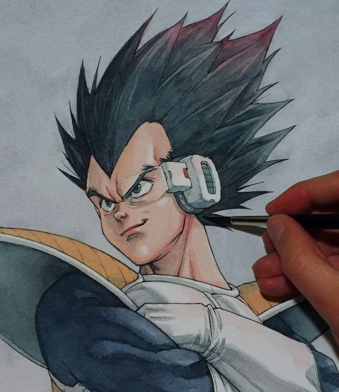 Dragon Ball : Dessin Vegeta à l'aquarelle par Hector Trunnec (avec images) | Dessin, Dessiner ...