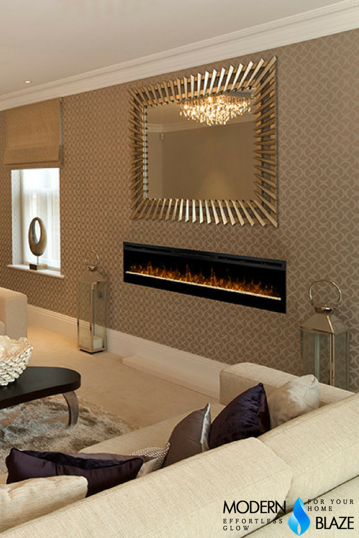 This beautiful electric fireplace can be recessed
