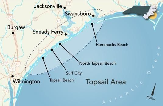 Topsail Island Map Topsail Island Vacations