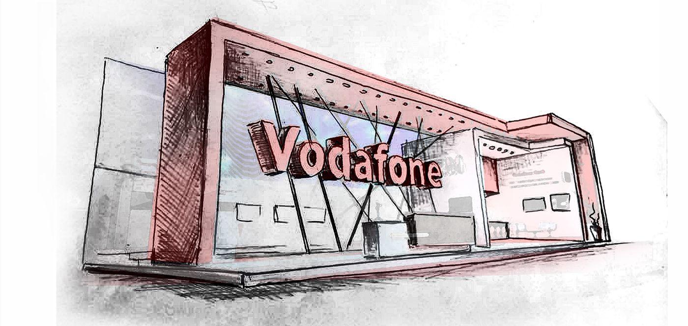 Exhibition Stall Sketch : Vodafone ict exhibition stall design