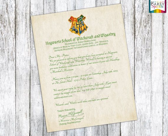Hogwarts Acceptance Letter Invitation  Personalized Harry Potter