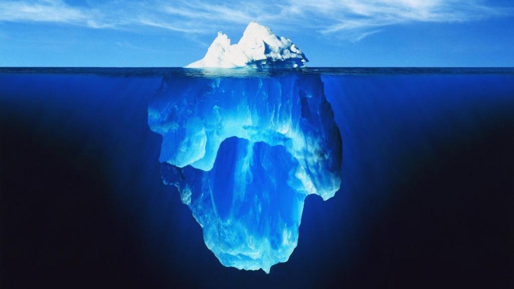 Gletscher, Eisberge, unter Wasser
