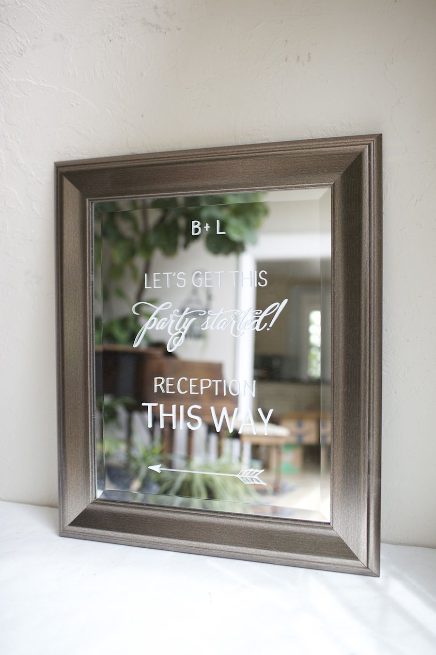 Bronze framed mirror wedding reception sign. Hand painted, custom ...