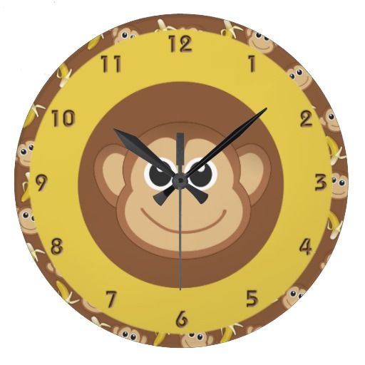 Monkey Bananas Large Clock Zazzle Com With Images Monkey Clock Clock Wall Clock