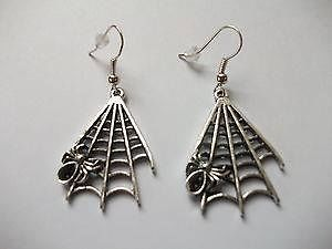 ~AWESOME~Spidar in Its Web Lovely Hand-Made Tibetan Silver Earrings