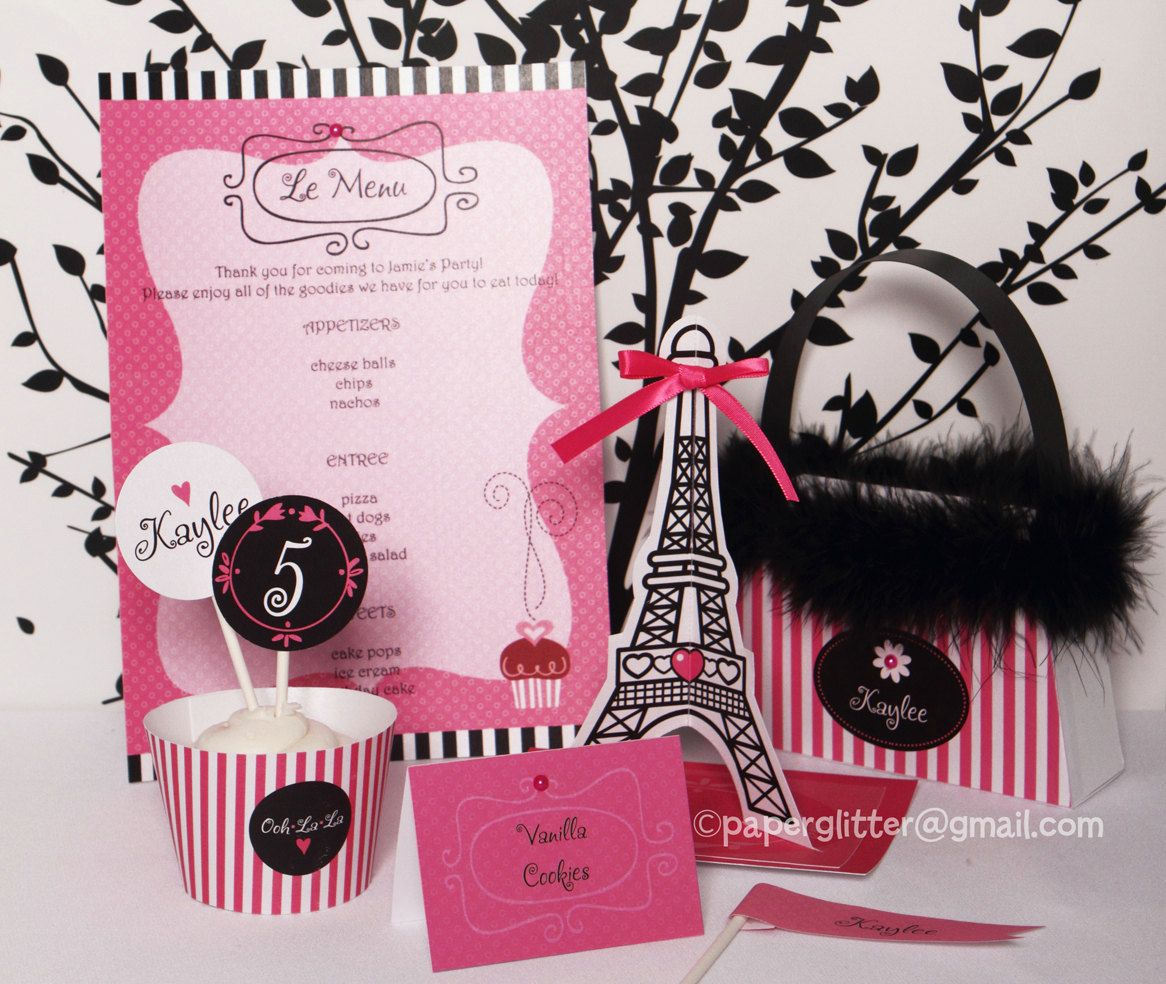 Paris Party Hot Pink Invitation and Kit Printable Decoration