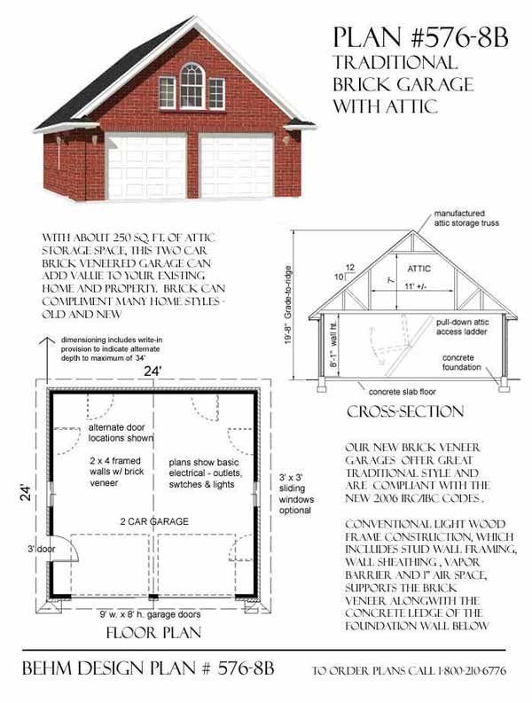 Brick Veneered 2 Car Garage Plan 576 8b With Attic Truss Roof. Brick Veneered 2 Car Garage Plan 576 8b With Attic Truss Roof