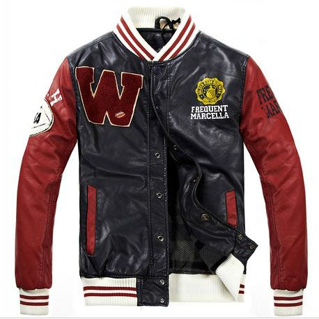 Frequent Marcella Men s Letter W Leather Varsity Jacket  ef37fa648217
