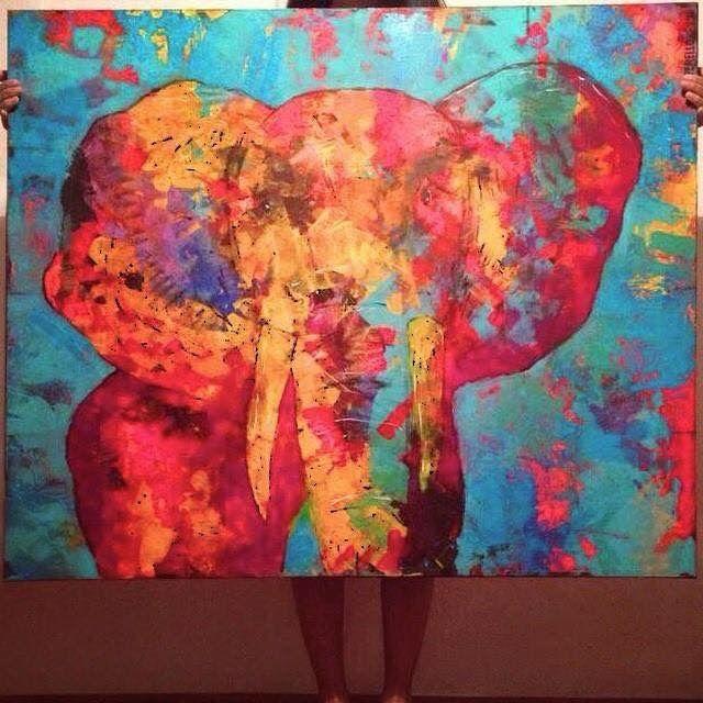 Natalia Perello Painting Art Colorful Elephant