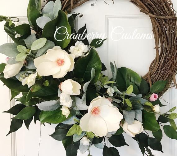 Photo of Farmhouse magnolia wreath. Spring magnolia wreath. Wreath for spring. Magnolia leaf wreath. Wreath f