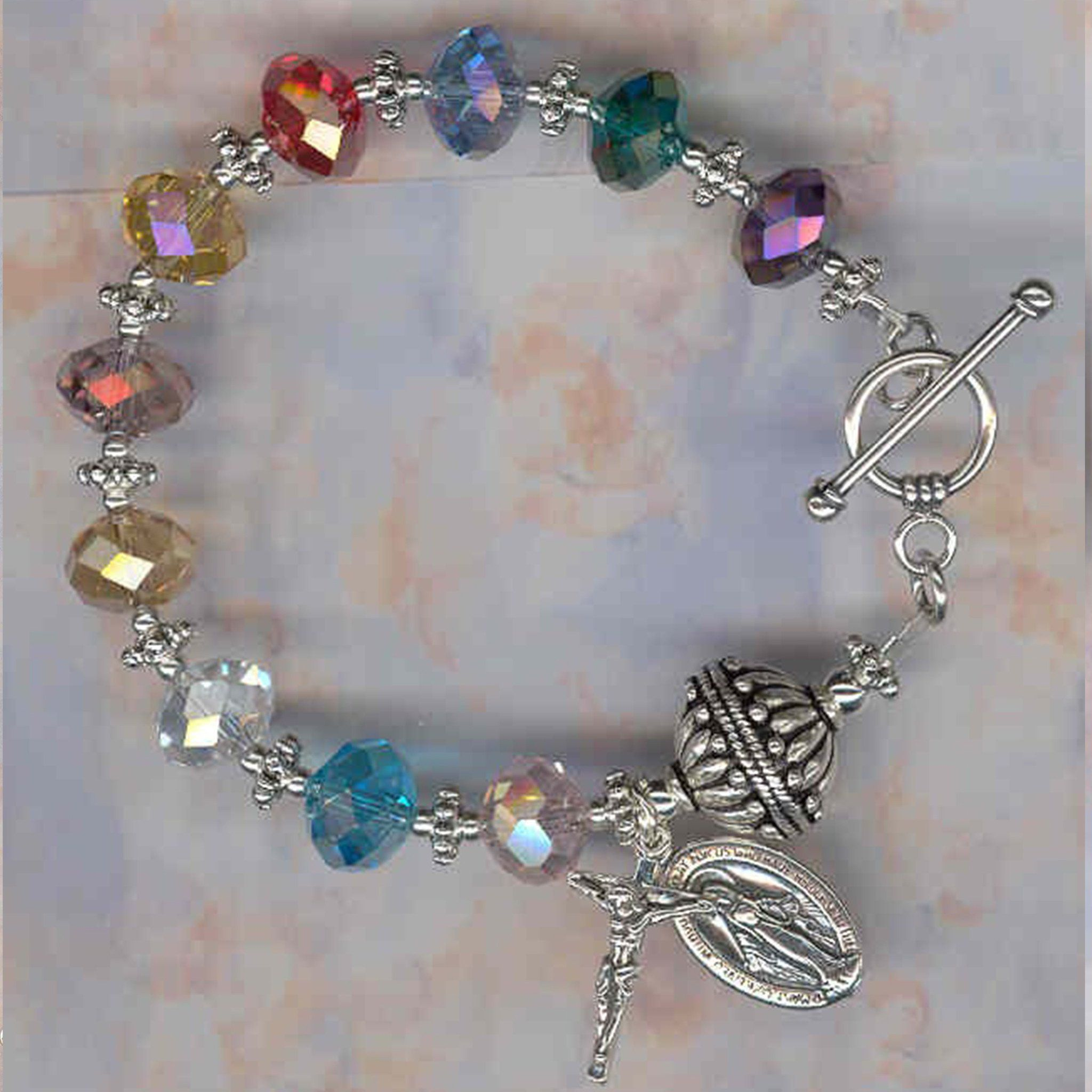 Limited edition multi color faceted crystal rosary bracelet rosary