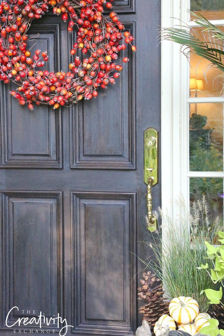 Fall Front Door Makeover   Wood front doors, Front doors and Door ...