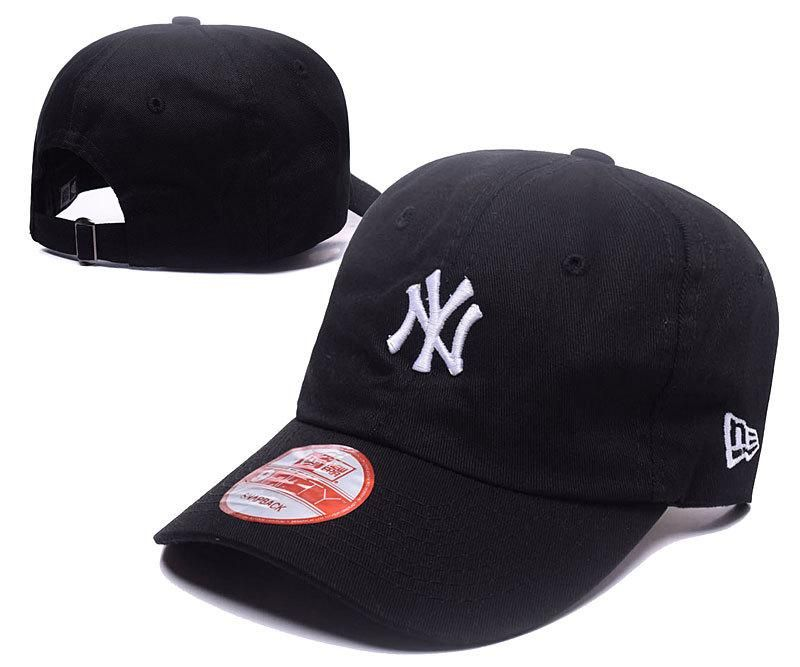 8afcc5f56a635 Men s   Women s New York Yankees Basic Team Logo Embroidery Adjustable  Baseball Hat - Black