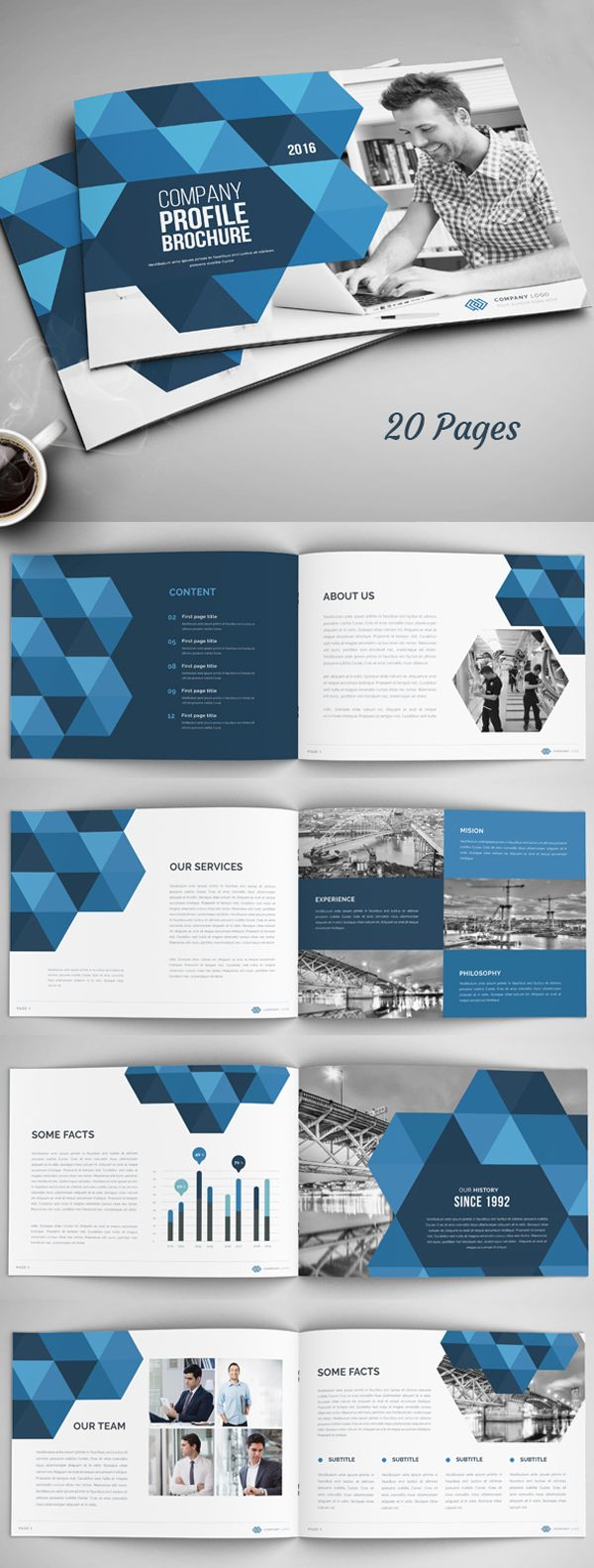 20 pages annual report company profile brochure template more