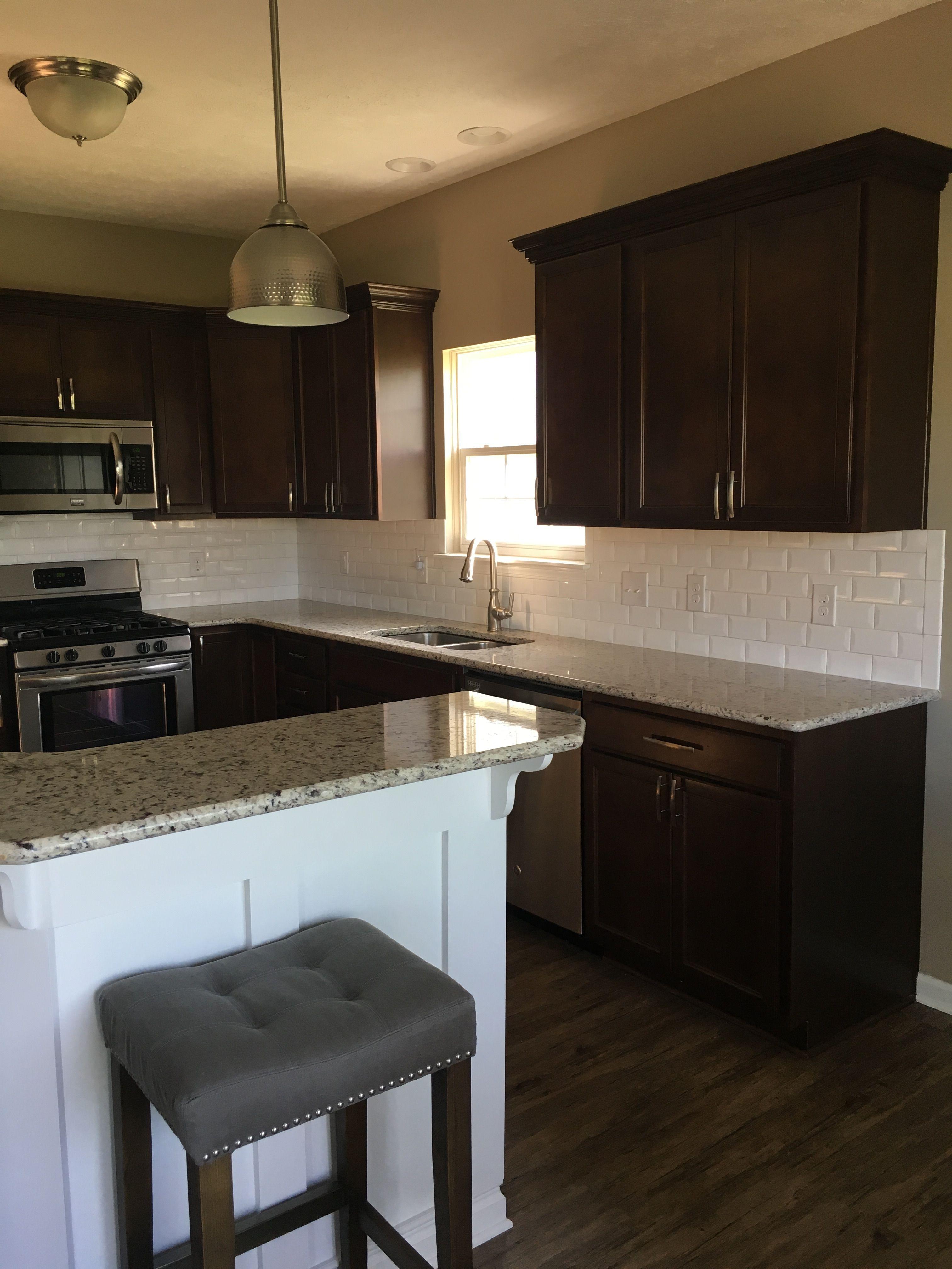 White beveled subway tile; dark cabinets (Umber); light ... on Backsplash Ideas For Dark Cabinets And Light Countertops  id=54549