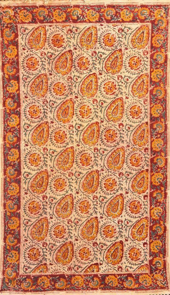 4x6 Hand Block Paislay Print Boho Rustic Area Rug Bohemian Decor Floor Rugs Traditional Hand Rustic Area Rugs Traditional Handmade Rugs Bohemian Area Rugs