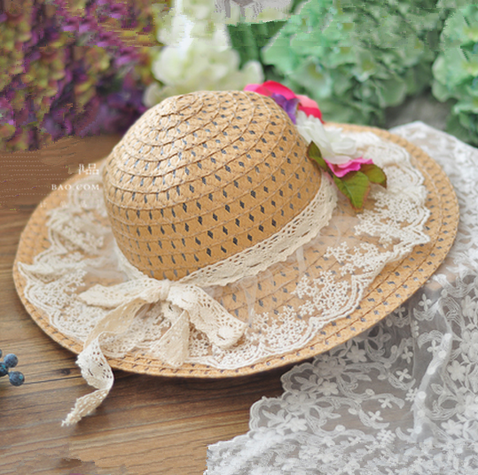 00252297d5a Vintage straw hats for girl lace flower decoration wide brim hat ...
