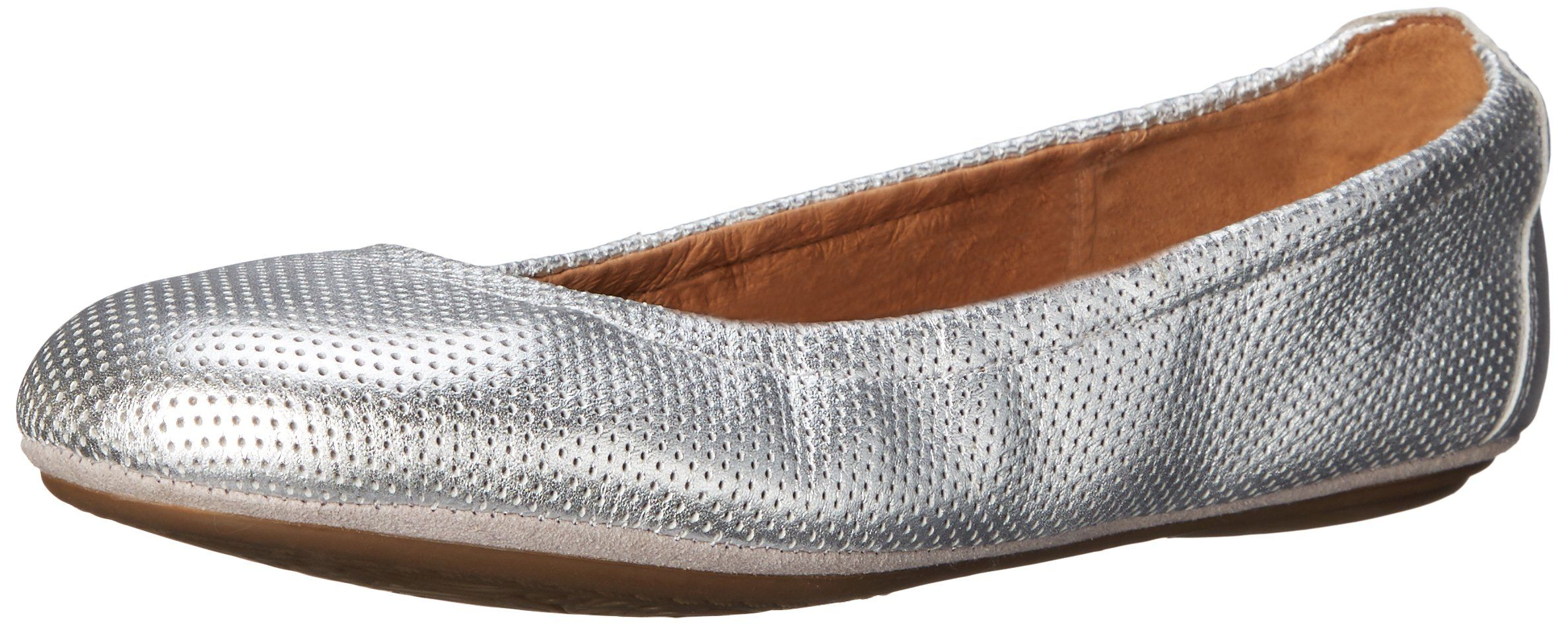 Clarks Women's Grayson Erica Ballet Flat, Silver Perfed Leather, 7.5 M US.  Cushion
