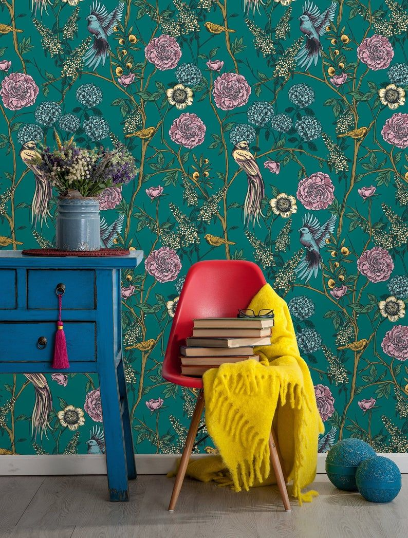Removable Wallpaper Peel And Stick Victorian Garden Etsy In 2020 Removable Wallpaper Living Room Transformation Floral Wallpaper
