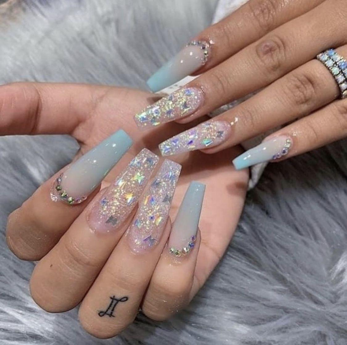 Pin By Arianna Orlando On Nailz In 2020 Best Acrylic Nails Blue Acrylic Nails Swag Nails