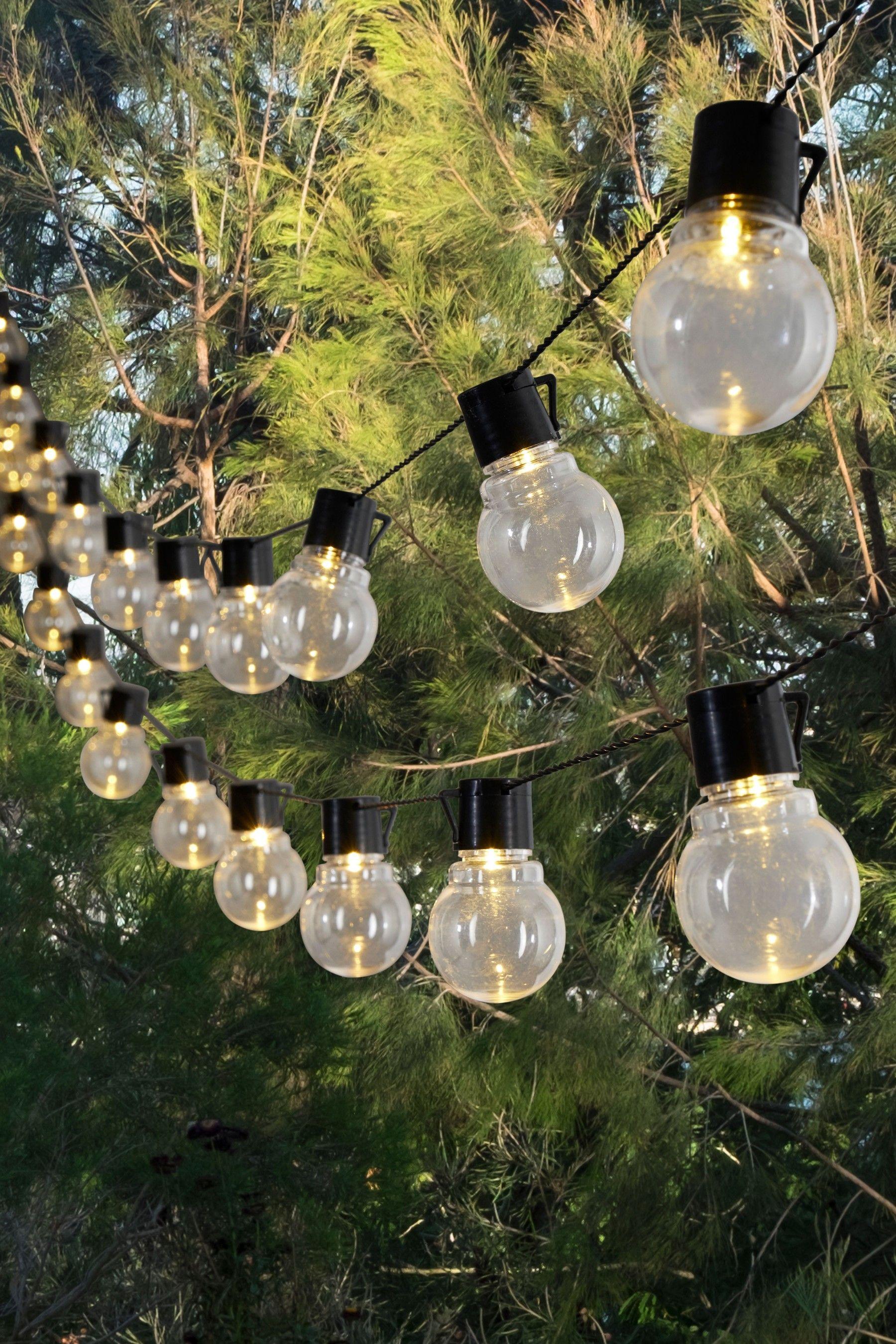 Next Mains Powered 40 Festoon Lights Clear Festoon Lighting Solar Lights Garden Solar Lights