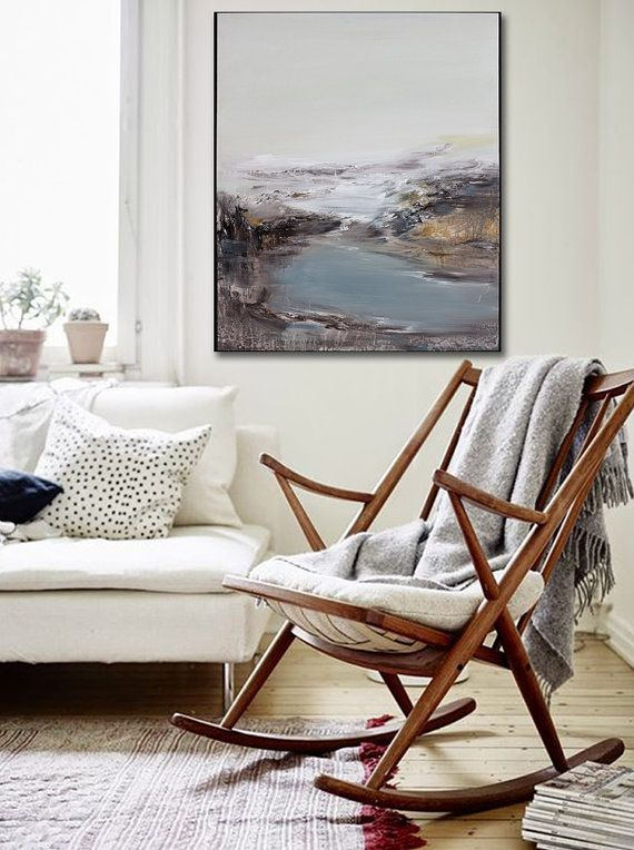 Hand Made Abstract Art Acrylic Painting Large Canvas Art Living Room Wall Art Blue Black And White Stylish Rocking Chairs Home Living Room Interior Design