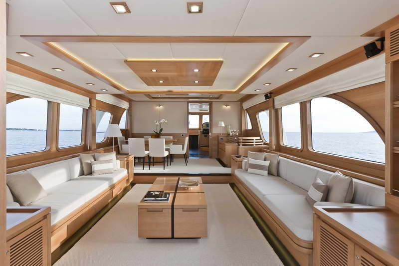 Luxury Yacht Interior Design With Elegant Wood Table #thehighlife