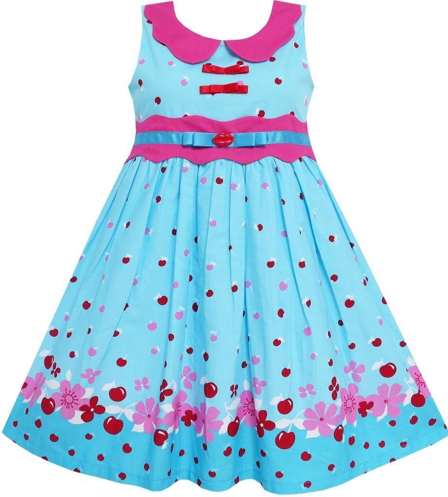 Mädchen Kleid Blau Punkt Kragen Prinzessin Party: Amazon ...