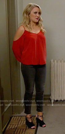 7ccba8c76d79 Gabi s red cold-shoulder top and tie up booties on Young and Hungry. Outfit